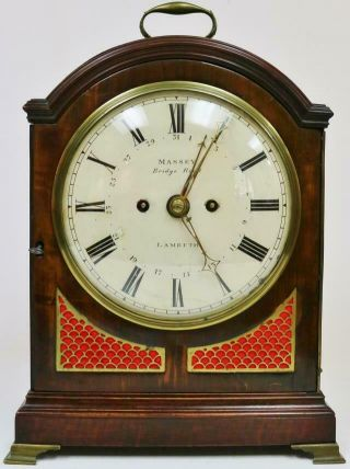 Antique English Mahogany London Triple Pad Top Twin Fusee Verge Bracket Clock