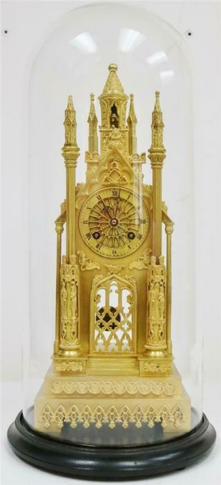 Antique French Empire Bronze Ormolu Cathedral Mantle Clock Under Dome