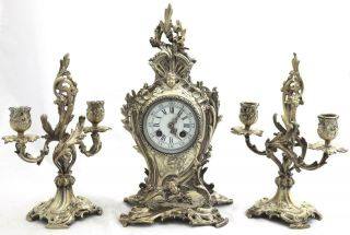 Antique French Mantle Clock Rococo Silvered Bronze 8 Day Garniture Set