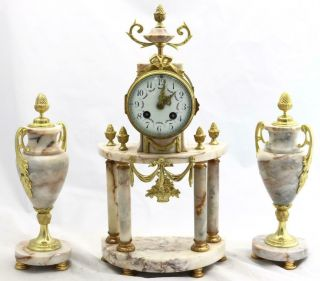 Antique French Mantle Clock 3 Piece Set 8 Day Bell Striking Cream Marble Portico
