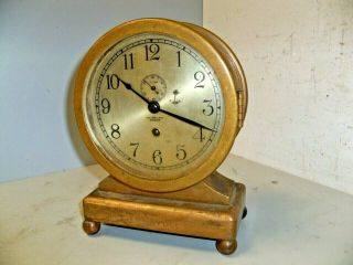C 1924 Chelsea Clock Bubble Back Bronze Desk Clock