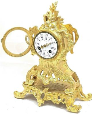 Antique French Mantle Clock 1855 Stunning Embossed 8 Day Pierced Rococo Bronze