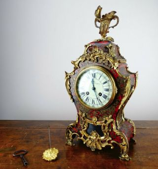 Antique Victorian French Louis Xv Style Boulle Mantel Clock By Japy Freres C1870