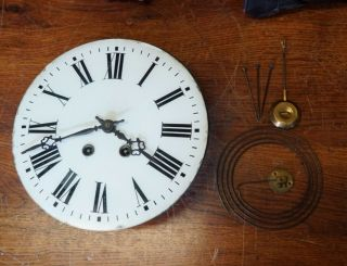 Antique French Square Wall Clock Movement.  Very Complete