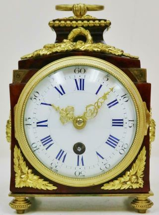 Rare Antique French Empire Red Shell & Bronze Pendule De Officers Carriage Clock