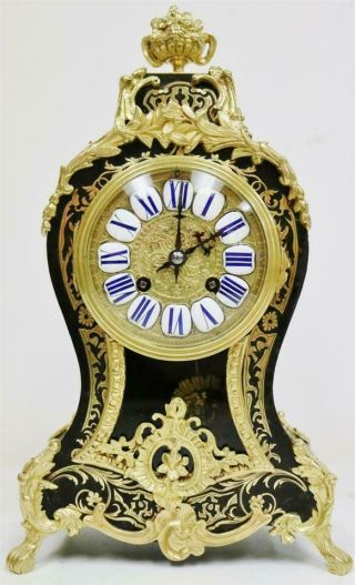 Rare Antique French 8 Day Black Shell,  Bronze & Brass Inlaid Boulle Mantle Clock