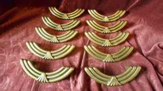 Vintage Set Of 10 Brass Amerock Drawer Pulls Art Deco Design Vicrorian