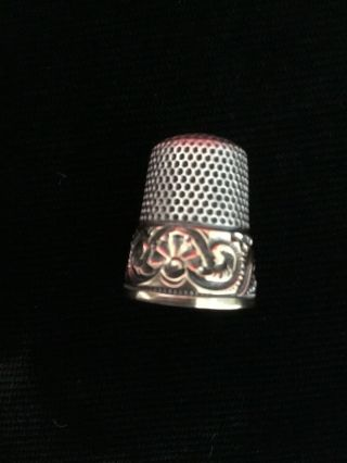 Antique Sterling Silver And 14k Gold Thimble Mkd Ketcham And Mcdougall Size 8
