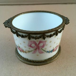 "Exquisite French Sevres Hand Painted Porcelain& Gilt Metal Pot "" Signed """