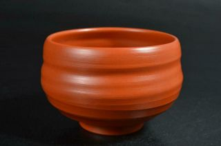 T2372: Japanese Tokoname - Ware Brown Pottery Tea Bowl Green Tea Tool Tea Ceremony