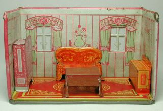 Vintage Marx Newlywed Tin Litho Dining Room With Furniture 1920