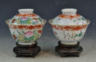 Antiqu.  Chinese Porcelain Covered Cups With Wood Stand Marked