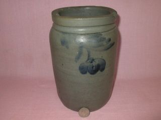 """Antique 19th C Stoneware Flower Decorated Small Canning Jar Crock 8 1/2 """""""