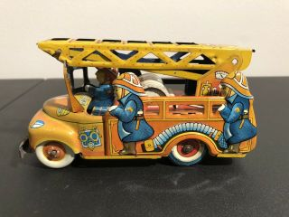 Japan Modern Toys Friction Fire Truck Tin Litho Vintage Ladder