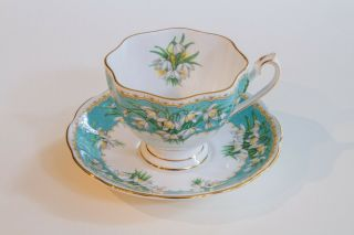 Vintage Queen Anne Tea Cup And Saucer Marilyn Aqua With White Snowdrop Flowers