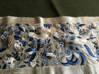Antique Chinese 19th Century Blue Silk Embroidered Panel.