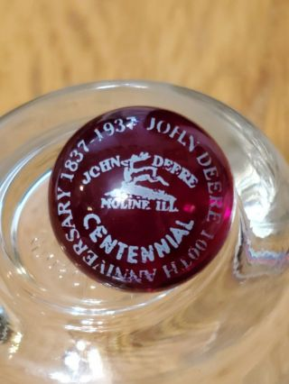 John Deere 1937 Rare Antique Pontilled Glass Red Ruby Marble 12/13 Inch Moline
