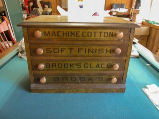 Antique Spool Chest Brooks Oak?? 4 Drawer Novelty Sewing Box Brook