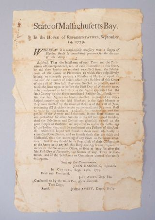 Rare Estate Found Us Colonial Massachusetts Bay 1779 Broadside Re Army Blankets