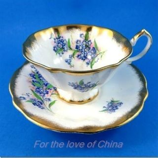 Heavy Gold Edge With Forget Me Nots Queen Anne Tea Cup And Saucer Set