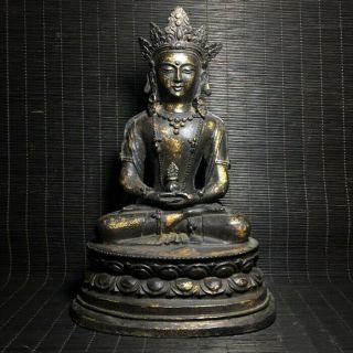Unusual Archaic Chinese Bronze Buddha Seated Statue Sculpture Marked