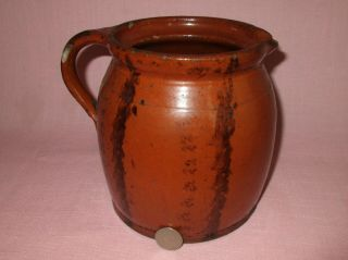 Antique 19th C Redware Stoneware Manganese Decorated Small Pitcher Pennsylvania