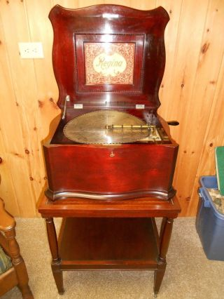 "Antique Regina 15.  5 "" Double Comb Disc Music Box With 24 Discs"