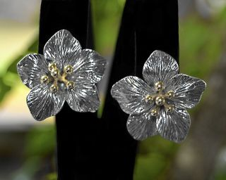 Large Flower Stud Earrings Sterling Silver And 14k Gold Post Back