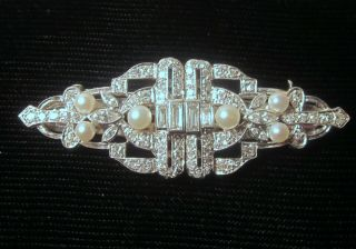 C 1920 Estate 3 Ct Diamond Platinum Duette Clip Pin 5 Day Nr 15.  2 G