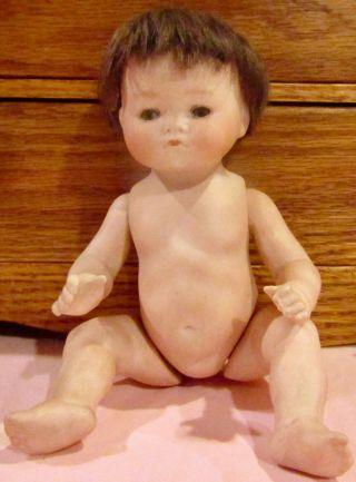 "7 "" Antique German Closed Mouth Doll Extremely Rare Wigged All Bisque Tynie Baby"
