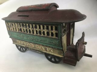 "Antique Cast Iron Mechanical Bank – Alfred C.  Rex 1889 – ""Motor Bank"" 2"