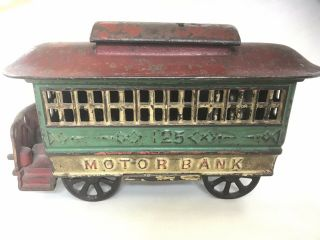 "Antique Cast Iron Mechanical Bank – Alfred C.  Rex 1889 – ""Motor Bank"" 4"
