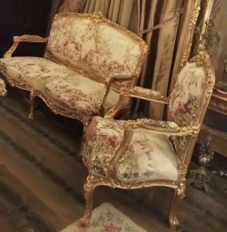 Romeo and Juliet,  French Antique Style,  Hand Carved,  Gold Leaf,  Living Room Set 7