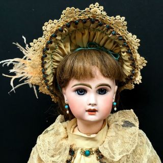 "Early Jumeau Bebe 21 "" Unmarked - Incised "" 7 "" - French Bisque Head Antique Doll 7"