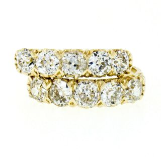 2 Antique Victorian 18k Gold 3.  0ct Old Mine Cut Diamond Wedding Band Guards Ring