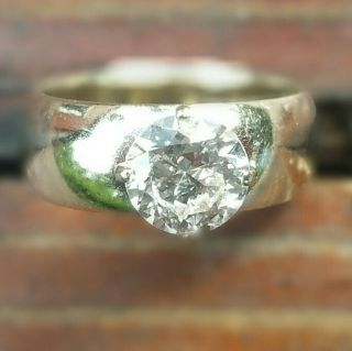 Elegant antique heirloom solitaire diamond ring circa 1950,  white gold wedding 2