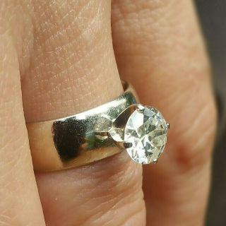 Elegant antique heirloom solitaire diamond ring circa 1950,  white gold wedding 3