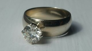 Elegant antique heirloom solitaire diamond ring circa 1950,  white gold wedding 5