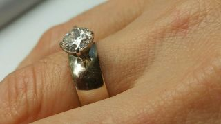Elegant antique heirloom solitaire diamond ring circa 1950,  white gold wedding 6