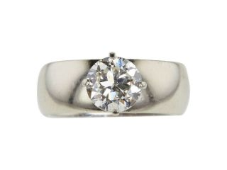 Elegant antique heirloom solitaire diamond ring circa 1950,  white gold wedding 7
