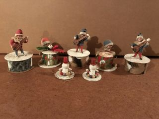 Antique German Christmas Ornaments Mixed Materials Musical Theme Set Of 7