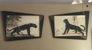 Rare Set Carlo Of Hollywood Watercolor Paintings Panthers In Retro Angled Frames