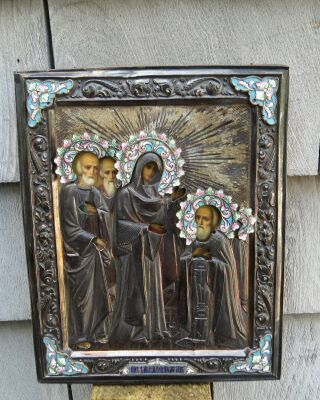 Quality antique Russian Silver Enamel Icon Hall marked 84 2