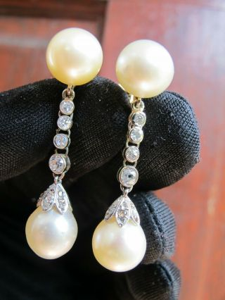 Antique 18ct Gold Platinum Old Cut Diamond Pearl Earrings