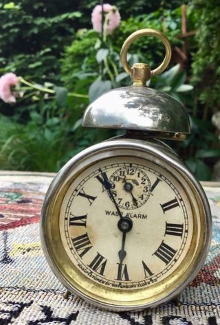 Waterbury Miniature Antique Top Bell Wasp Alarm Clock Patented Jan 1901 Running