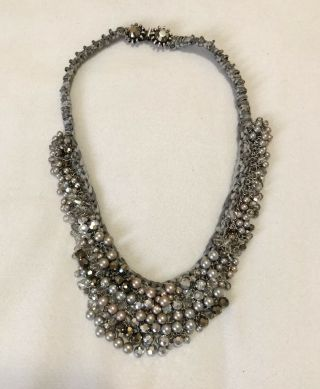 Miriam Haskell Rare Outstanding Woven Pearl Rhinestone Champagne Silver Necklace