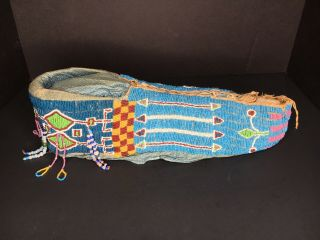 Antique Native American Cradleboard and Necklace Kiowa early 20th Century 2