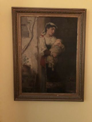 "Antique Victorian Oil Painting By W.  P.  Morgan ""mother Holding Baby"""