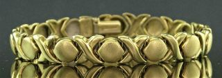 "Vintage Italian 14k Solid Yellow Gold X & O Flexible Link 7 "" Bracelet"