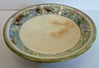 """"""" Brown County Pottery """" Large Ceramic Bowl W/ Leaf & Yellow Flower Border"""